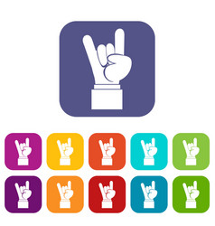 Rock and roll hand sign icons set vector