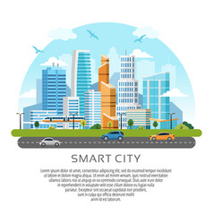 Round style city downtown landscape vector