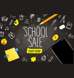 school sale concept with lettering inscription vector image