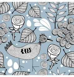 Seamless pattern with chicken and roses vector