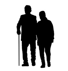 senior couple silhouette vector image