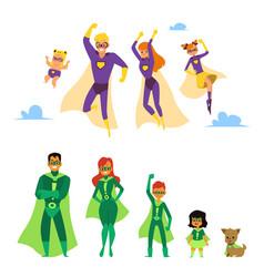 Set caucasian and asian or latino superhero vector