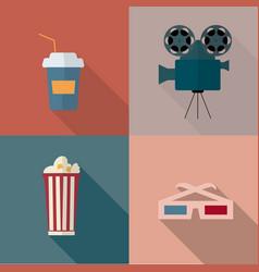 set cinema icon vector image