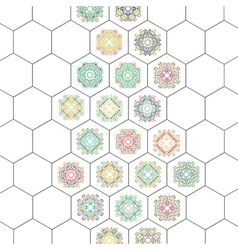Set in oriental style on hexagons background vector image