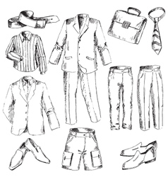 Set of business clothes for men vector