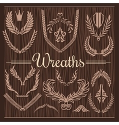 Set of Retro Wreaths for Award Achievement vector image