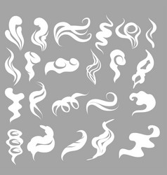 Set of smoke clouds fog and steam cartoon vector