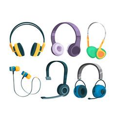 Set various headphones vector