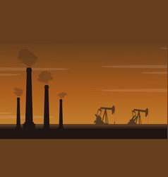 Silhouette of pollution industry landscape vector