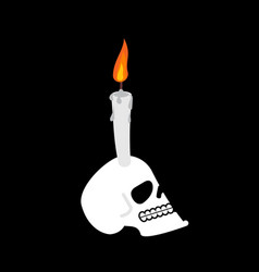 Skull and candle head of skeleton is witch mystic vector