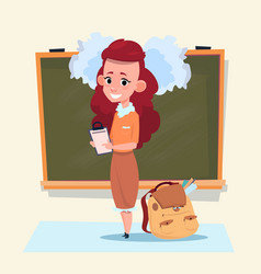 Small school girl standing over class board vector