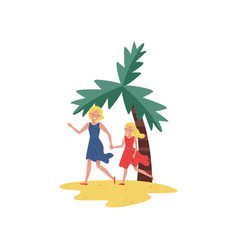 smiling mother and daughter running by beach sand vector image