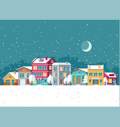 Snowfall in winter town with small houses cartoon vector