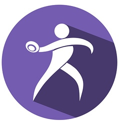 Sport icon design for discus on purple badge vector image