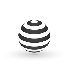 striped globe logo modern design with shadow vector image