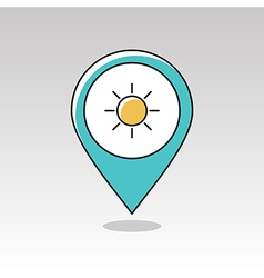 Sun pin map icon Meteorology Weather vector