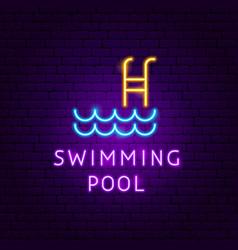 swimming pool neon label vector image