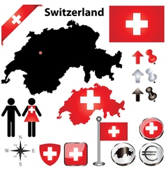 Switzerland map small vector