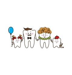 The family of the teeth on white background vector