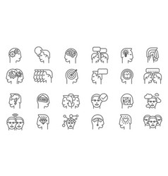 thin line brainstorming business icon set vector image