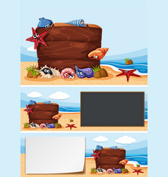 Three boards on the beach vector