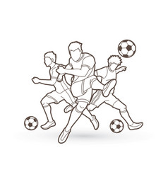 Three soccer player team composition vector