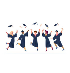 Tossing caps happy college graduates group throw vector