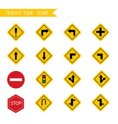 traffic sign icons cartoon icons collection vector image
