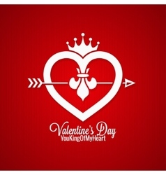 Valentines Day Vintage Concept On Red Background vector