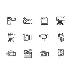 Video television and movies shooting icon simple vector