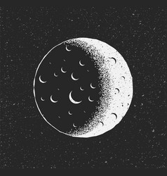 White moon on black starry background hand drawn vector