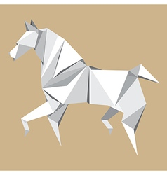 White paper horse origami vector