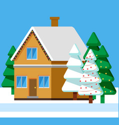 winter landscape in rural area house with snow vector image