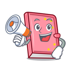 with megaphone diary character cartoon style vector image