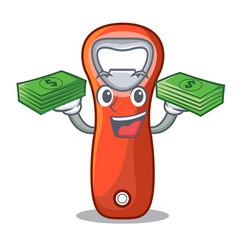 With money plastic bottle opener isolated on vector