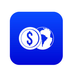 world planet and dollar coin icon digital blue vector image