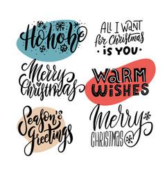Xmas hand drawn emblems set merry christmas vector