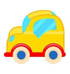 Yellow toy car with white wheels vector