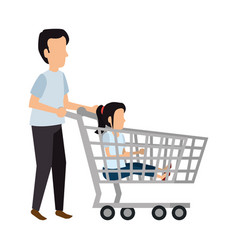 young couple with shopping cart vector image