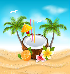 exotic coconut cocktail with frangipani orange vector image vector image
