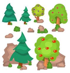 garden trees flowers grass game park vector image