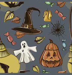 happy halloween hand drawn pattern vector image