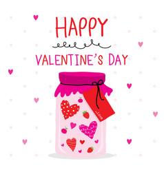 happy valentine day heart cartoon vector image vector image
