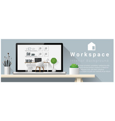 interior design of modern office workplace vector image
