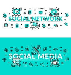 Social Media and Social Network heading title web vector image