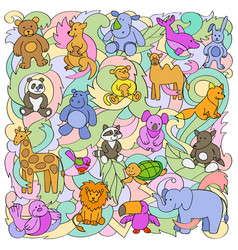 animal toys pattern vector image