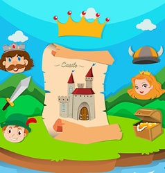 Castle theme with king and princess vector image
