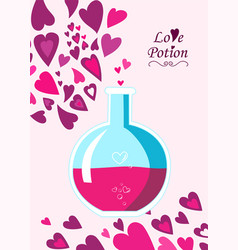 chemistry flask containing love potion in flat sty vector image vector image