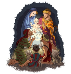 nativity scene jesus mary joseph shepherds vector image