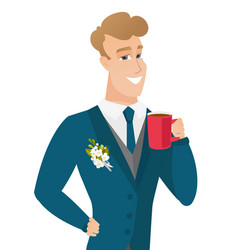 young caucasian groom holding cup of coffee vector image vector image